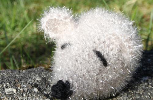 éponge souris en crochet